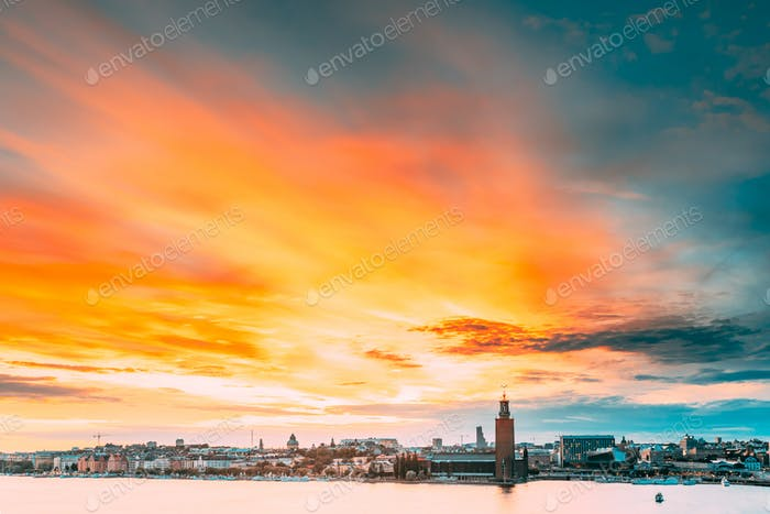 Stockholm, Sweden. Scenic Famous View Of Skyline Cityscape Embankment At Summer Sunset Sunrise