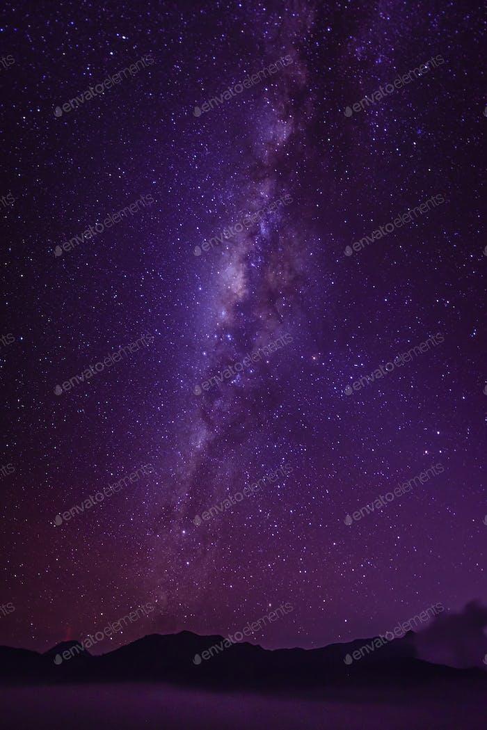 Milky Way galaxy in starry night sky
