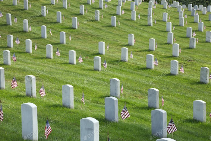 Tombstones at Arlington National Cemetery on Memorial Day