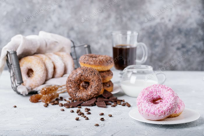 Sweet donuts with coffee