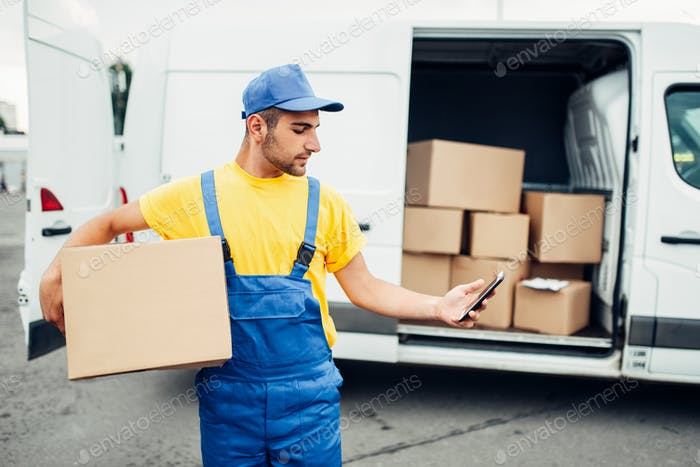 Cargo delivery service, courier with box and phone