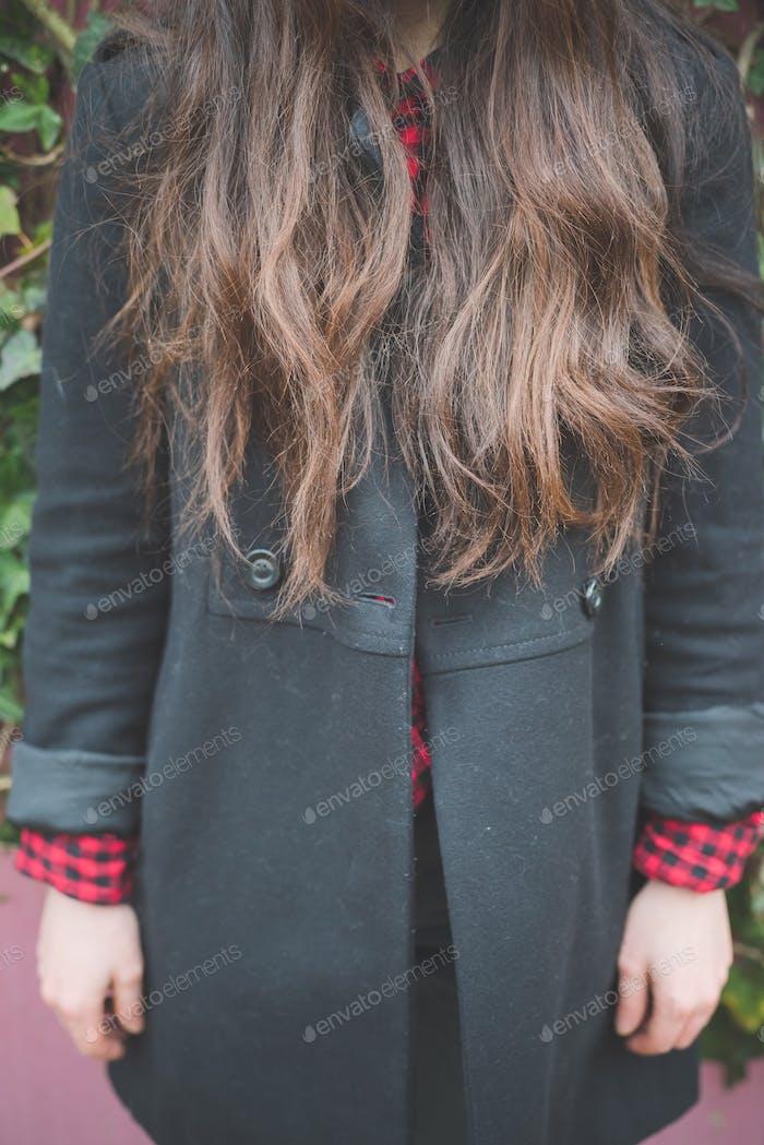 young beautiful long hair model woman