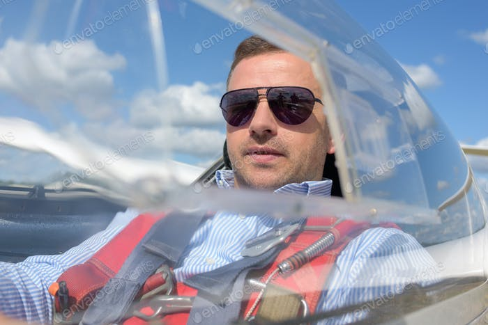 Man in solo aircraft