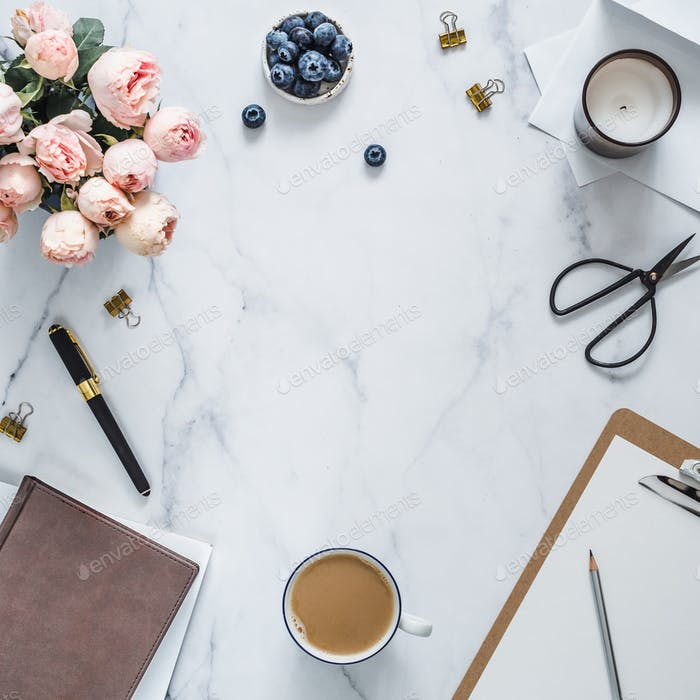 Flat lay, feminine home office. Copy space
