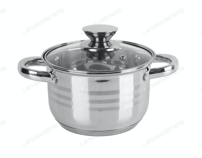 chrome pan with lid isolated on white background