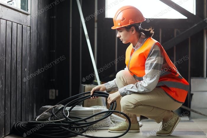 Woman working in construction site