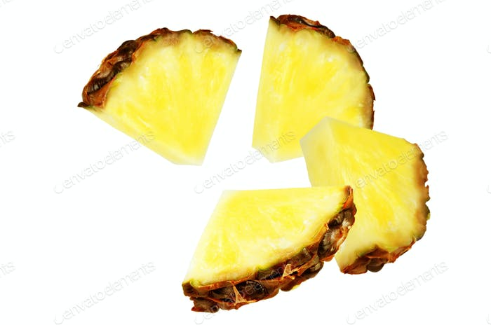 Flying Pineapple slices isolated