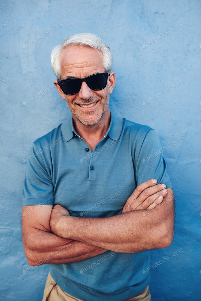 Happy mature man with sunglasses