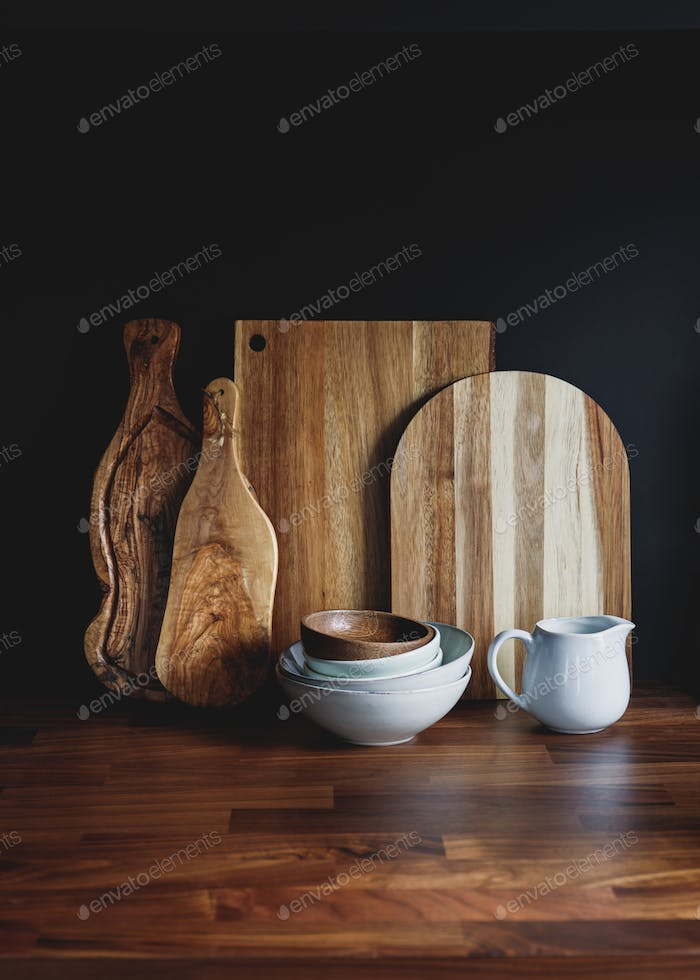 Set of wooden cutting boards