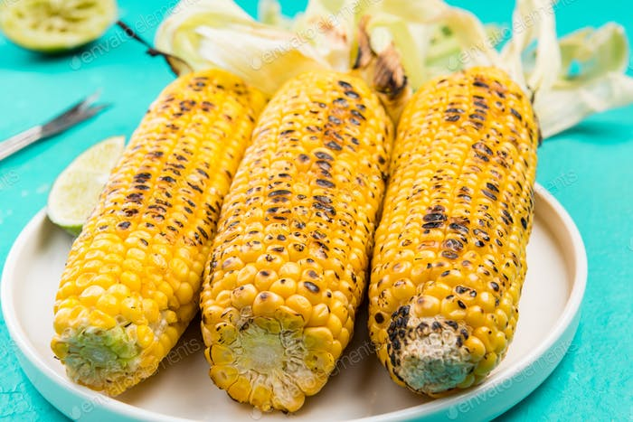 Grilled Corn on Con, Close Up View, Picnic food