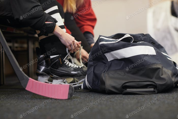 Hockey Player Getting Ready