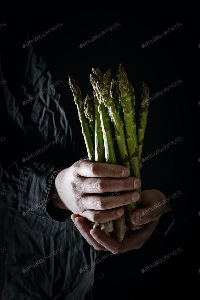 Bundle of green asparagus