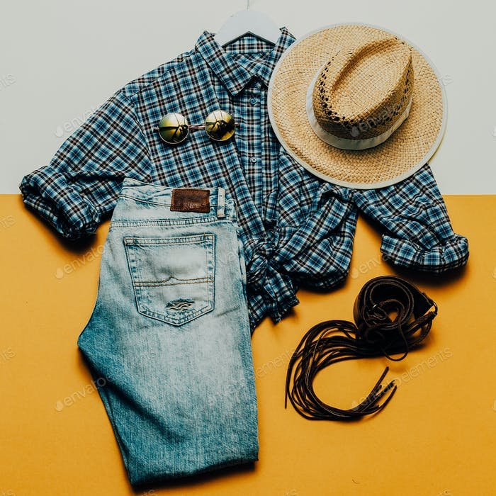 Cowboy Country outfit. Fashionable accessories. fashion style