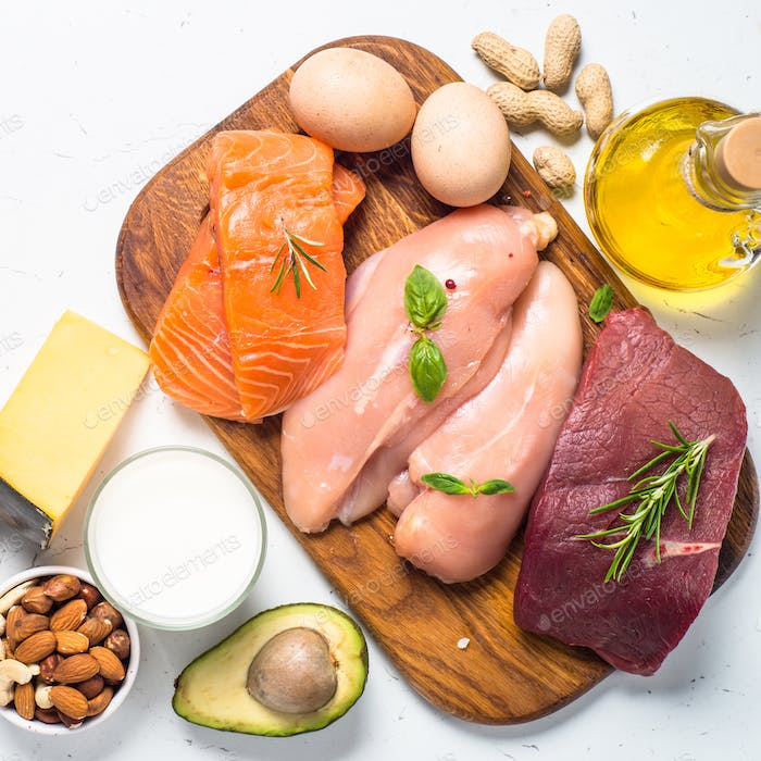 Ketogenic low carbs diet on white