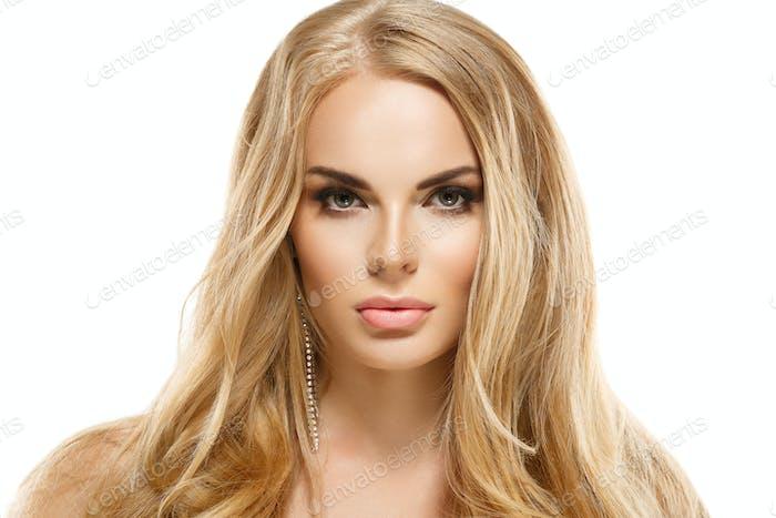 Lange blonde Haare Frau SchönheitHaut