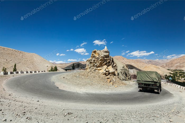 Road in Himalayas. Ladakh, India