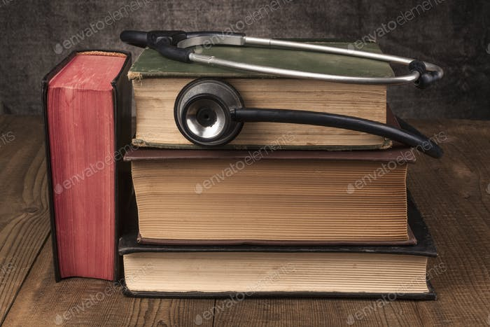 Books Pile And Stethoscope