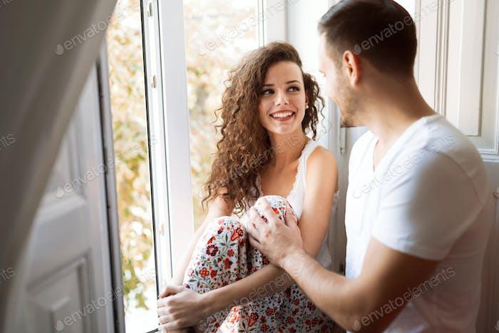 Happy couple bonding