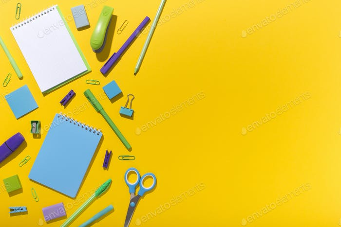 Modern office stationery for sale on yellow background