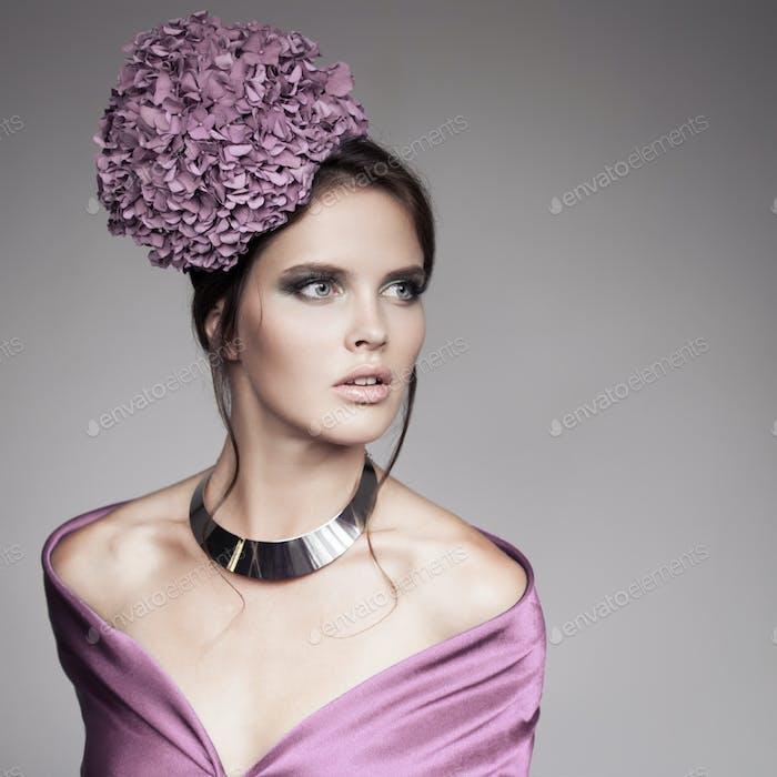 Fashion Portrait Of Beautiful Woman With Blue Flower Hydrangea