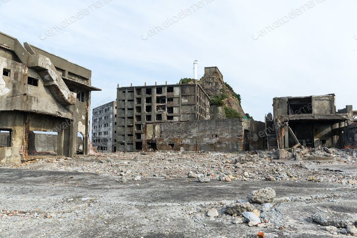 Abandoned island of Gunkanjima in nagasaki city of Japan