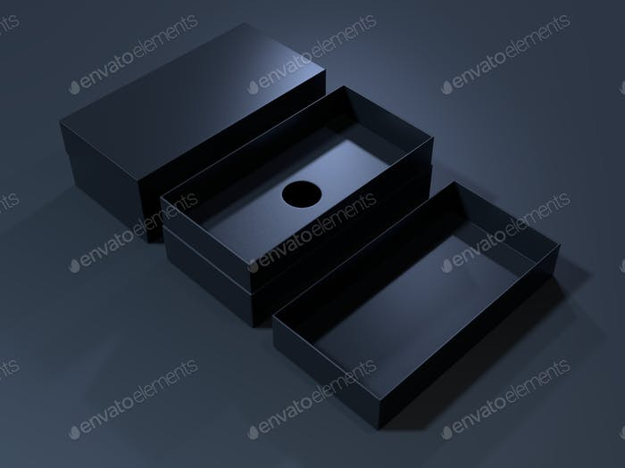 Black blank cardboard box on a dark background. Mock up template.