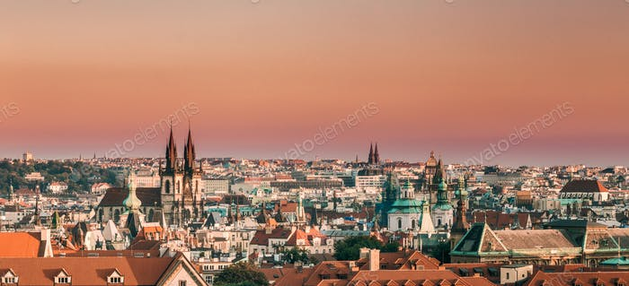Prague, Czech Republic. Panoramic View Of Cityscape In Sunset