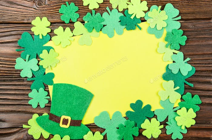 Happy Saint Patrick's greeting card mockup of handmade felt hat