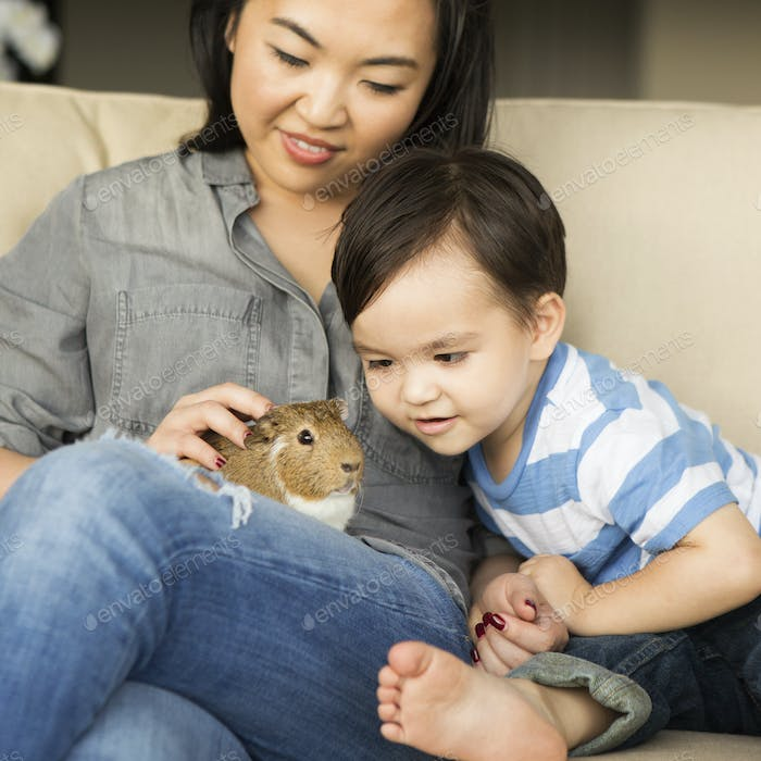 Smiling woman sitting on a sofa with a guinea pig sitting on her lap, her young son watching.