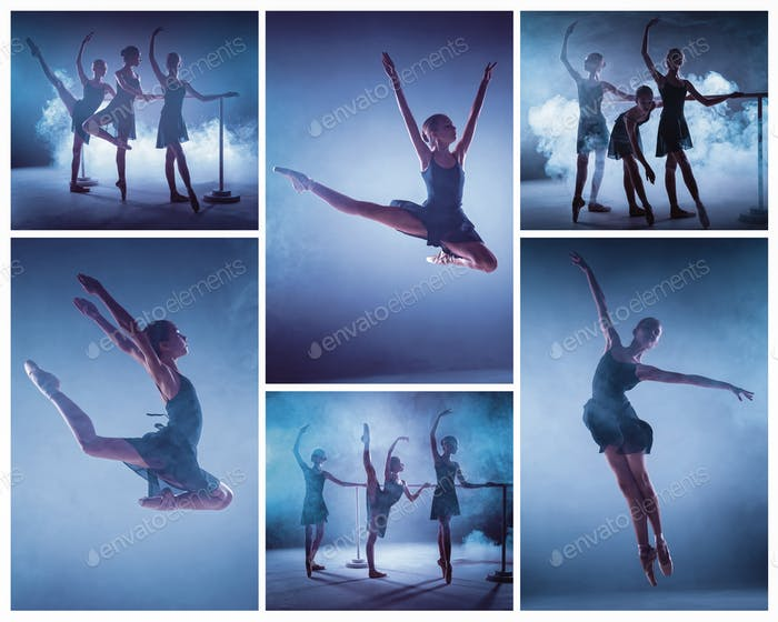The collage from images of young ballerinas stretching on the bar