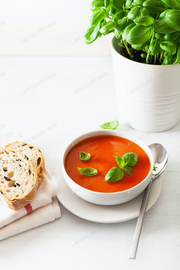 tomato soup on white backgorund