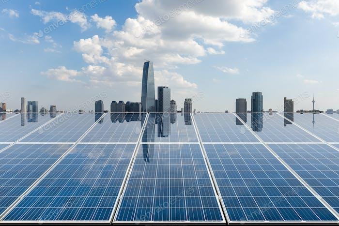 solar energy with city skyline