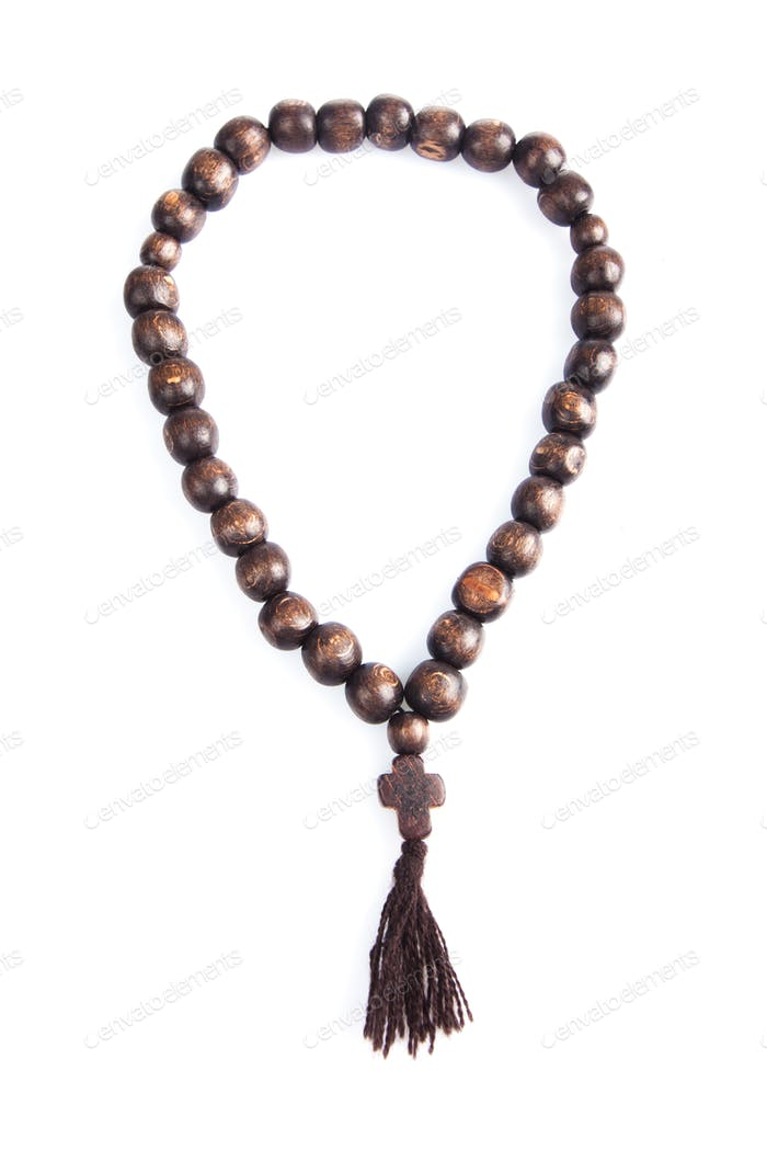 rosary on a white background