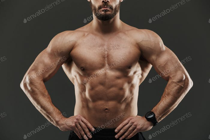 Cropped image of a young muscular bodybuilder