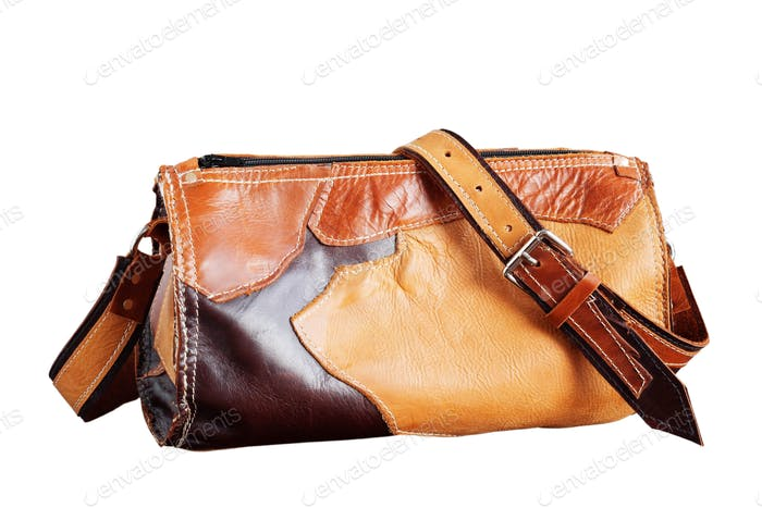 leather bag on white background