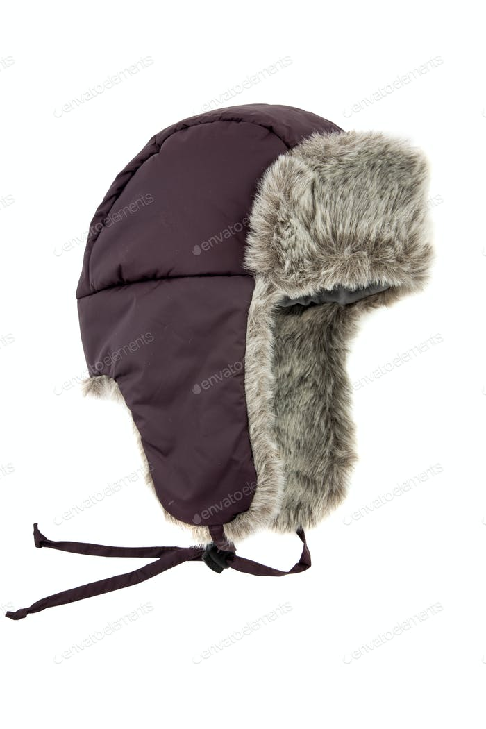 dark blue children's fur cap