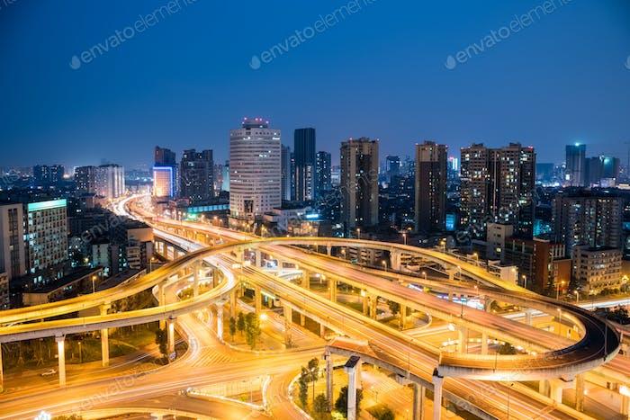 chengdu overpass at night