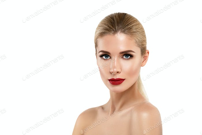 Woman with lips mouth red pink lip and blonde hair portrait.