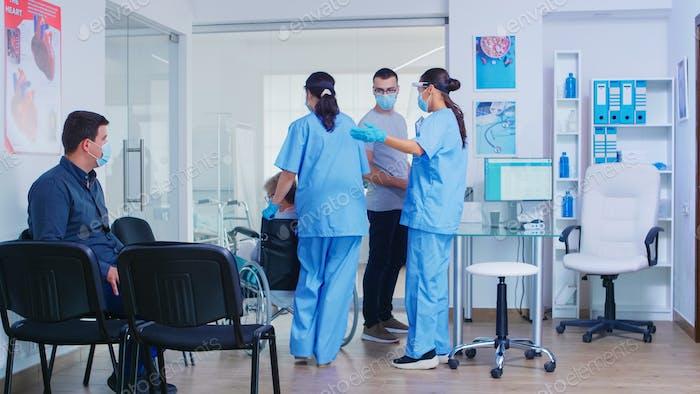 Nurse wearing visor against covid-19