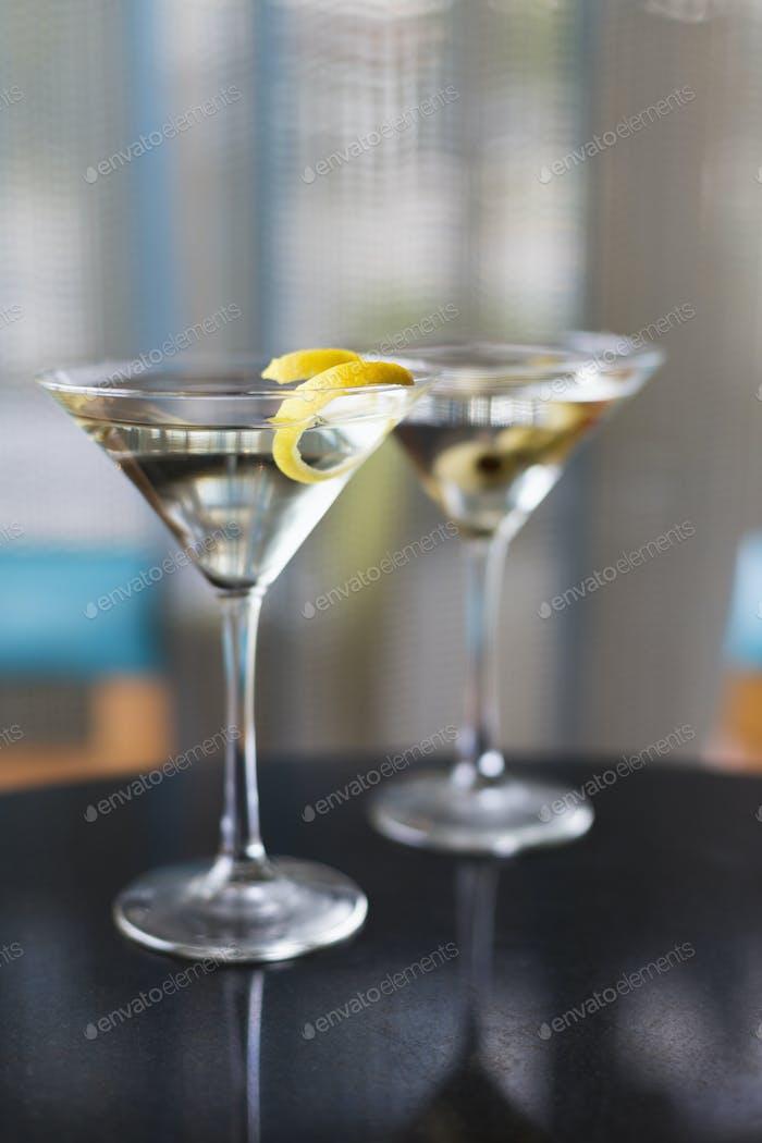 54281,Close up of garnished martinis