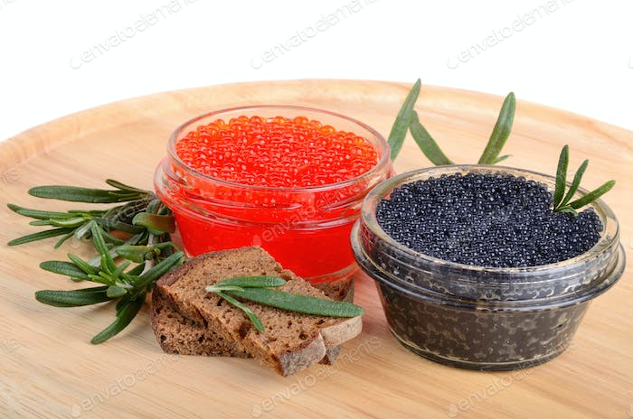 Caviar with bread and rosemary