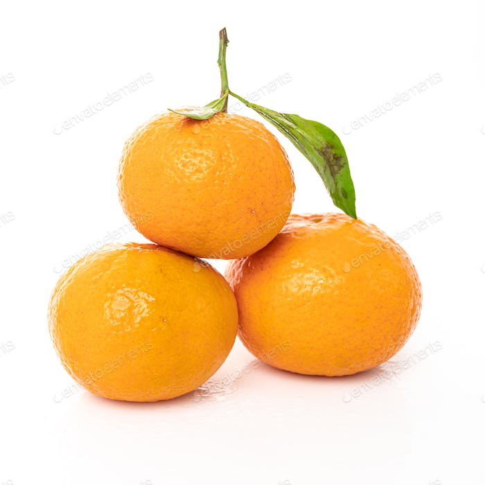 mandarins with leaf isolated on white background