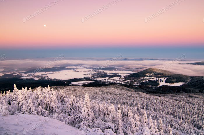 Amazing view from Jested mountain peak. Typical snowy morning, Czech republic.