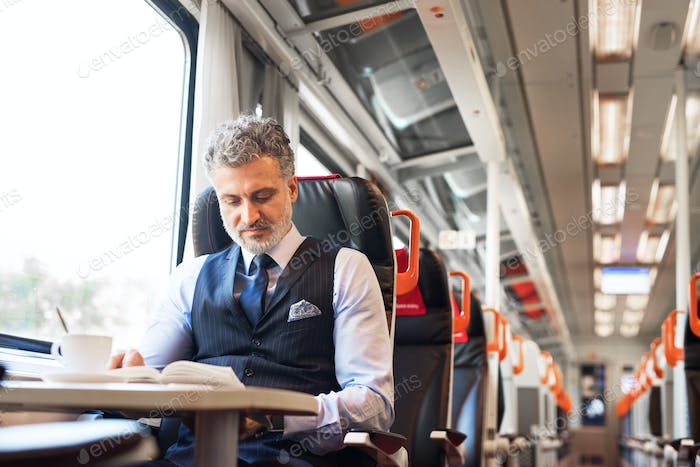 Mature businessman travelling by train.