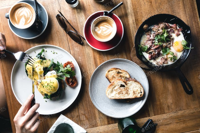 Brunch eggs in a coffeeshop