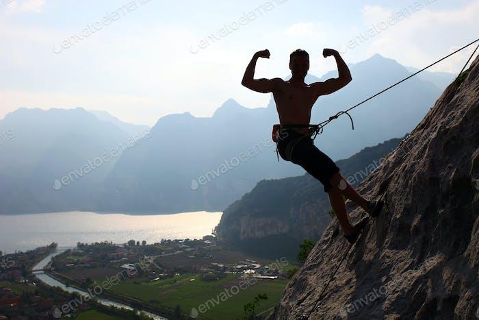 Человек походы успех силуэт в горах