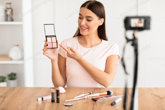 Beauty Blogger Woman Making Makeup Video Tutorial At Home