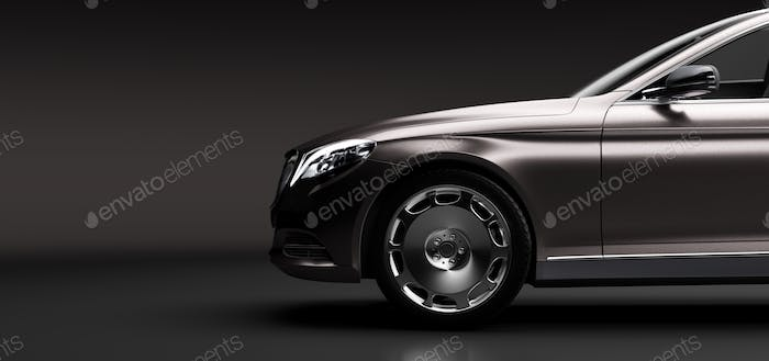 Limo car, a premium luxury vehicle on black. Vip transport,