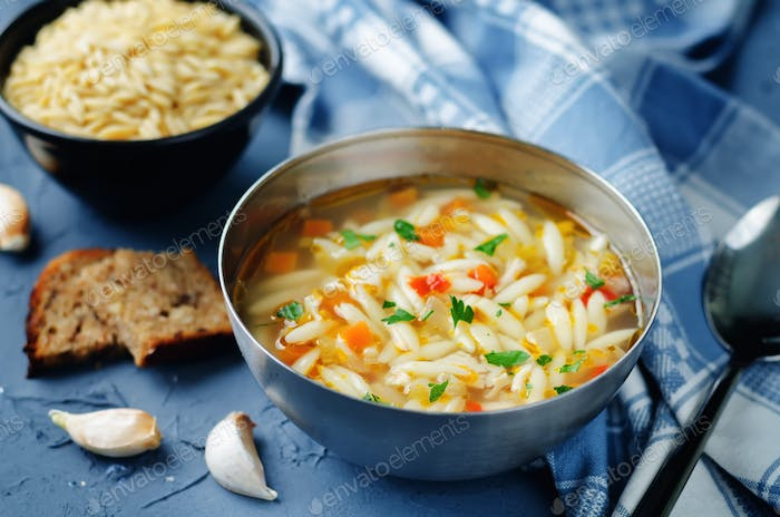 Turkey orzo vegetables soup