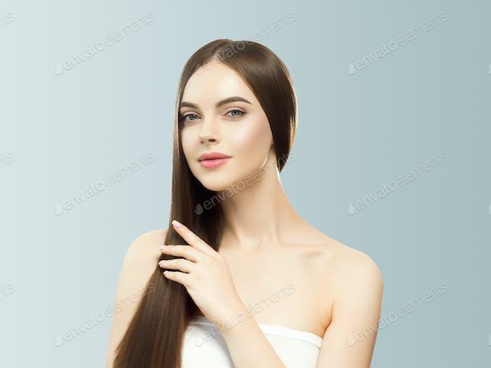 Frau Gesicht Schönheit gesunde Haut natürliche Make-up schöne weibliche graue Hintergrund